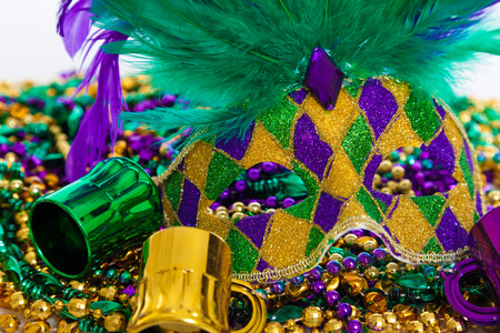 mardigras: A group of mardi gras mask with beads Stock Photo