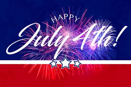 Feliz 4to saludo de July con fondo rojo y azul con fuegos artificiales Foto de archivo