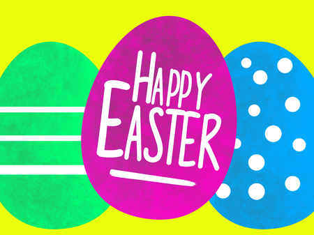 A happy easter greeting on with water colored egg illustration 写真素材