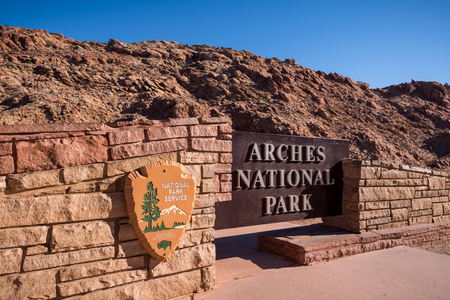 The main entrance to arches national park in moab utah. 免版税图像