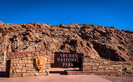 Main Entrance to arches national park in moab utah