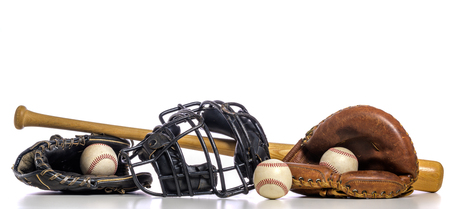 A group of vintage baseball equipment on a white background 免版税图像