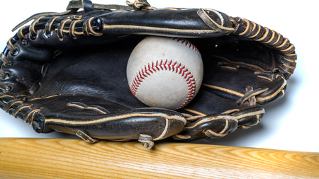 A group of vintage baseball equipment on a white background 版權商用圖片