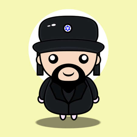 cute rabbi mascot character with simple and funny concept Vecteurs
