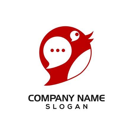 Chat bird logo icon template