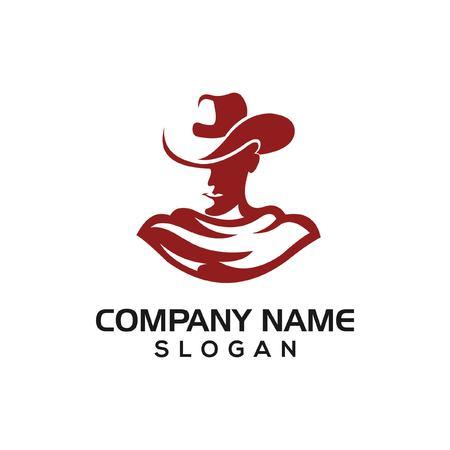 Cowboy logo icon template Stock Illustratie
