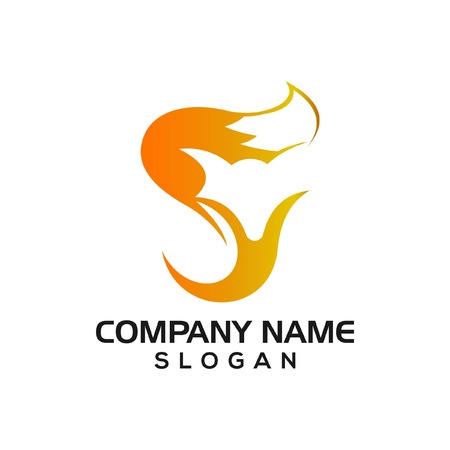 Fox and letters SY combination for logo icon template