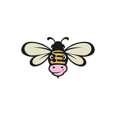 Bee and cow combination for logo icon template Stock Illustratie