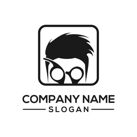 Barbershop concept, a combination of hair, scissors and glasses produces an interesting icon. Stock Illustratie