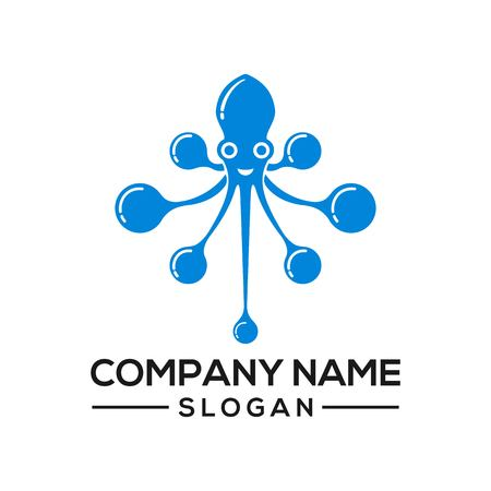 Octopus concept combined with a network connection becomes a logo icon for networking technology Stock Illustratie