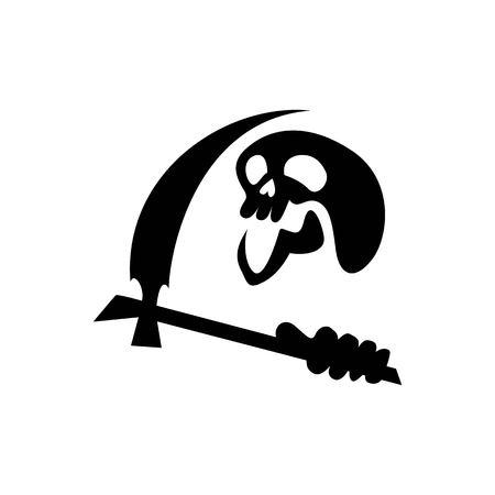 Reaper skull, simple but spooky Reaper skull silhouette for the attributes of halloween Stock Illustratie