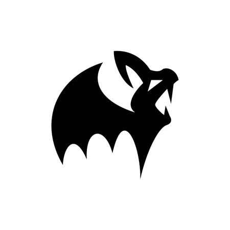 Child vampire, small and spooky bat silhouette for attributes of halloween