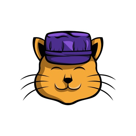 Cute cat, pictures of cute cat that wear worker hats, suitable for various icon logos related to cats and work. Stock Illustratie