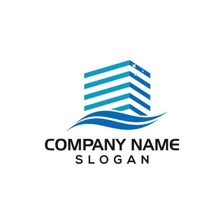 Saubere Gebäude, glänzende Gebäudekonzepte für Business-Logo-Vorlagen, Reinigung, Wartung, Gebäude usw. Logo