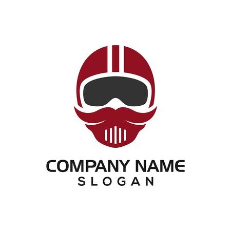 Mustache riders, mustache helmet design concept for logo icon template driver, automotive logos, etc. Stock Illustratie