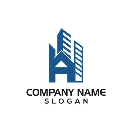 A building construction, Initial A with building concept as logo icon template for construction business etc.