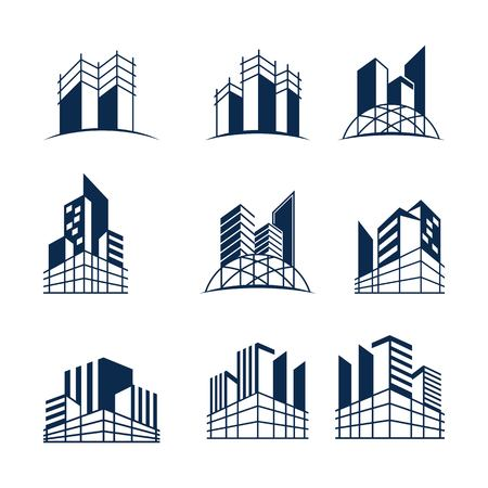 Building construction logo bundle, Various forms and models of buildings with scaffolding, suitable for construction or real estate logos. Иллюстрация