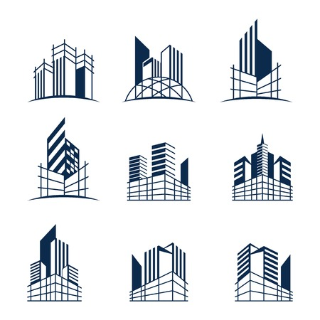 Building construction logo bundle, Various forms and models of buildings with scaffolding, suitable for construction or real estate logos. Ilustracja