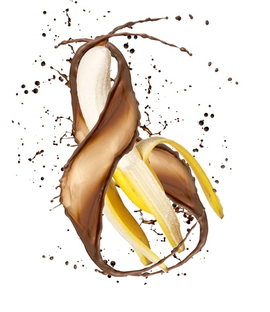 splash mixed: Banana in chocolate splash, isolated on white background