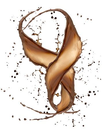 splash mixed: Chocolate splash, isolated on white background