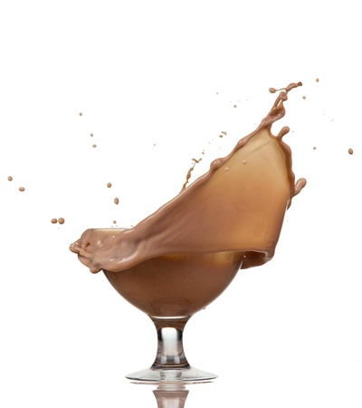 chocolate with milk: Glass of chocolate splash, isolated on white background