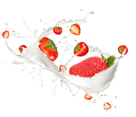 Raspberries in cream splash, isolated on white background  photo