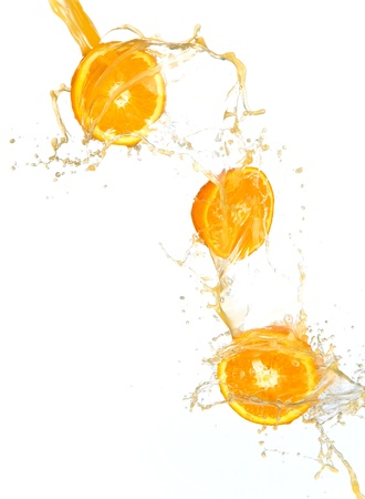Fresh oranges isolated on white background photo