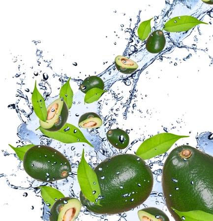 Avocado pieces falling in water splash, isolated on white background