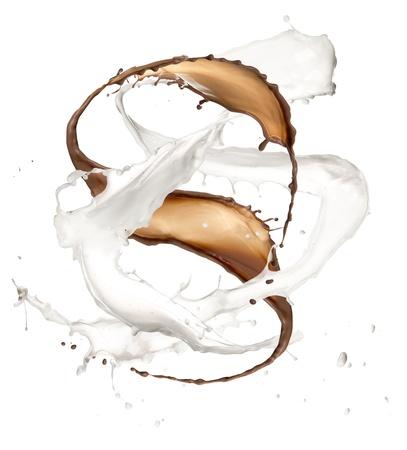 High resolution chocolate and milk splash, isolated on white background  photo