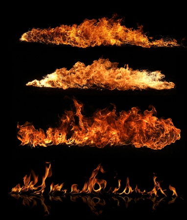 orange inferno: High resolution fire collection, isolated on black background