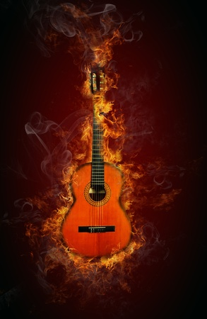 Fire guitar photo