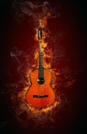Fire guitar Zdjęcie Seryjne - 12574708