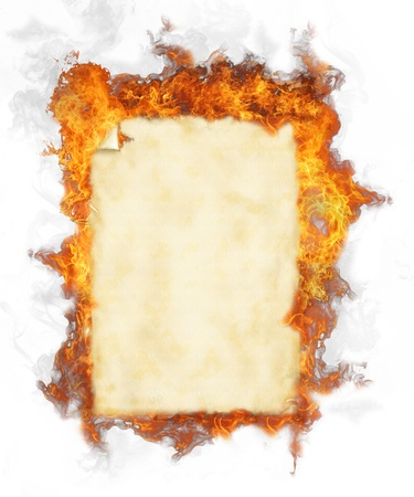Old blank paper in fire, isolated on white background photo