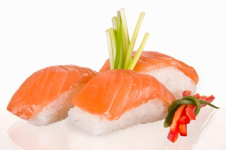 Delicious sushi on white background