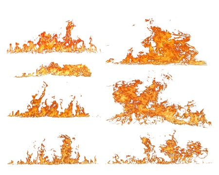 scorch: High resolution fire collection, isolated on white background