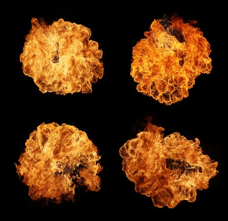 High resolution fire explosion isolated on black background photo