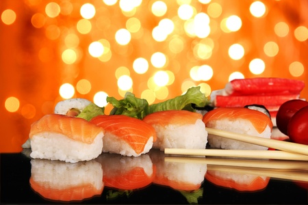 Delicious sushi with shiny blur background Stock Photo