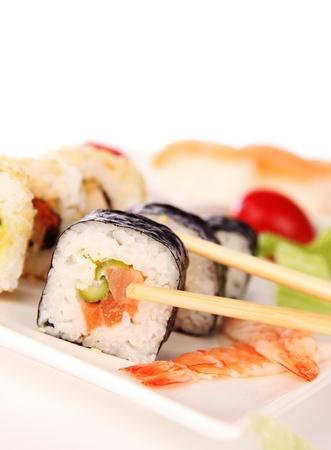 Sushi food on white background  photo