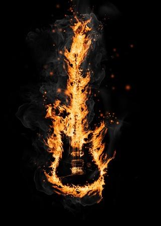 infierno: Fuego guitarra Foto de archivo