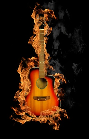 acoustic: Fire guitar Stock Photo