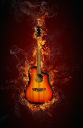 Fire guitar Stock Photo