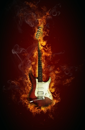hardrock: Fire electric guitar Stock Photo