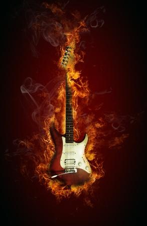 Fire electric guitar Zdjęcie Seryjne