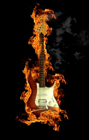 inferno: Fire guitar Stock Photo
