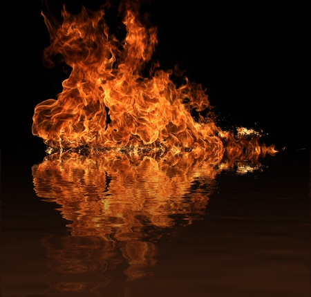 Fire flame with water reflection Stock Photo