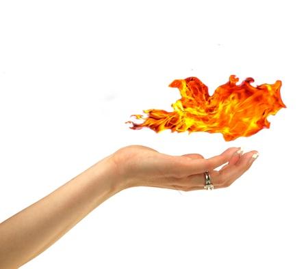 chemin�e gaz: Feu dans la main Banque d'images