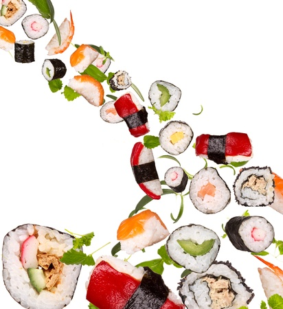 roll bar: Sushi pieces isolated on white background