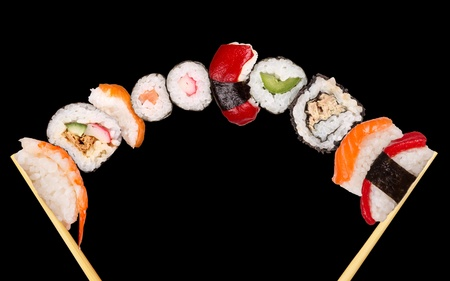 Maxi sushi, isolated on black background
