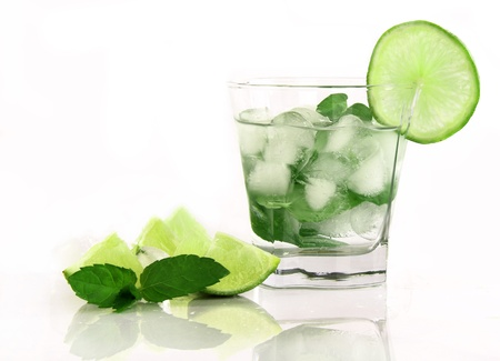 lemon water: Mojito drink, isolated on white background