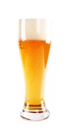beerglass: Glass of beer, isolated on white background Stock Photo